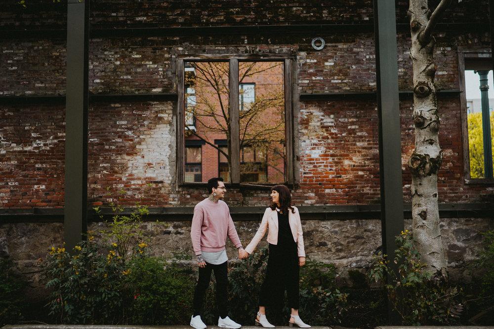 Brick Wall Engagement Portland Photographer