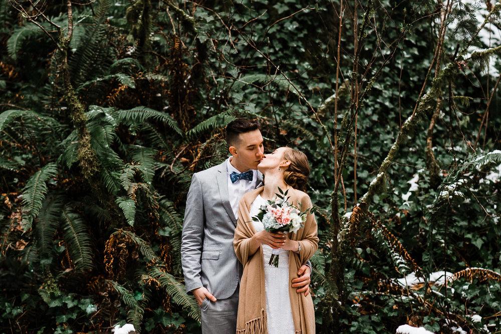 ferns wedding elopement bride groom portrait