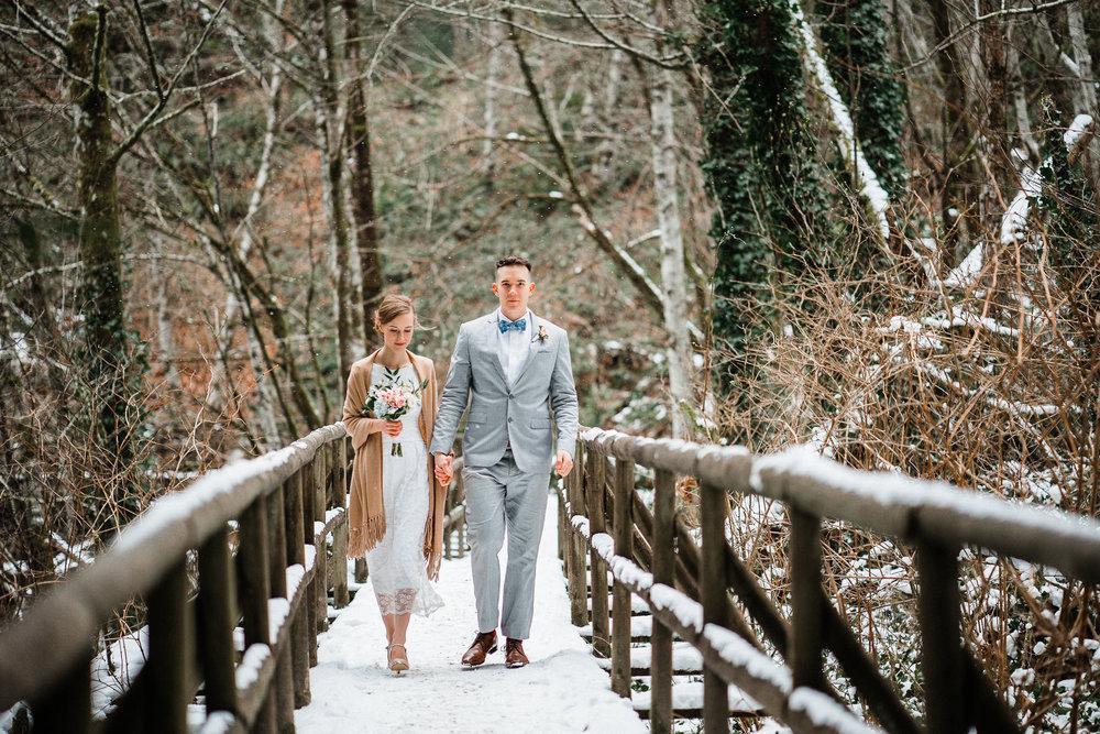 Snowy Bride Flowers Groom Suit