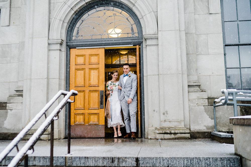 Mason Superior Courthouse wedding Winter