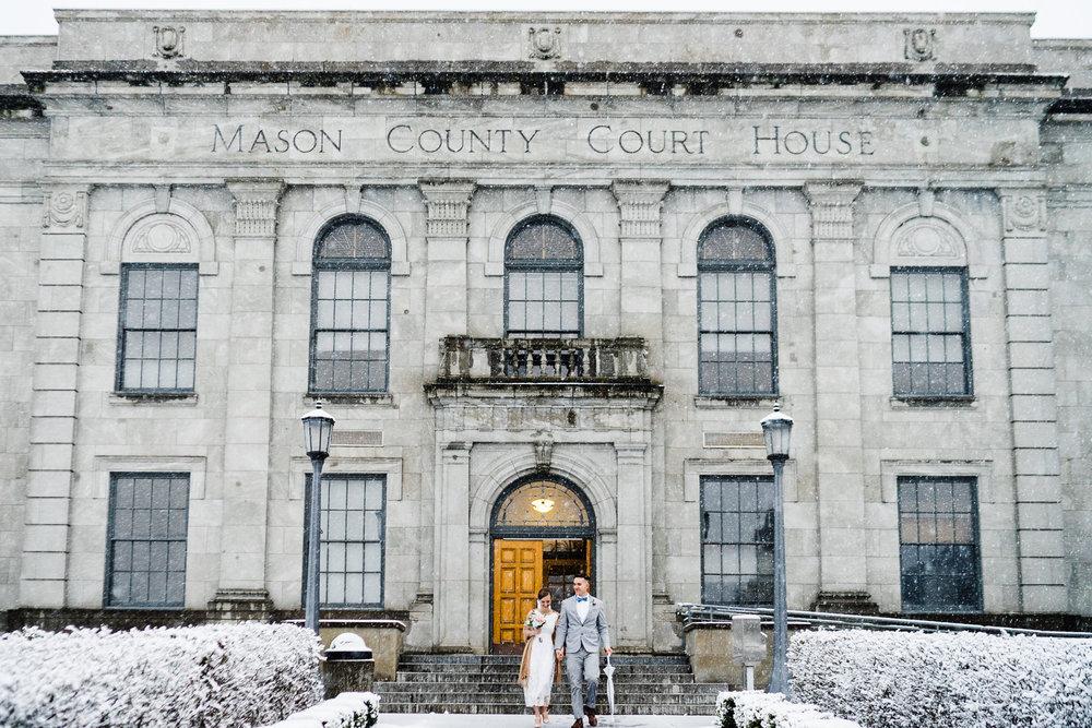 Winter Snow courthouse wedding
