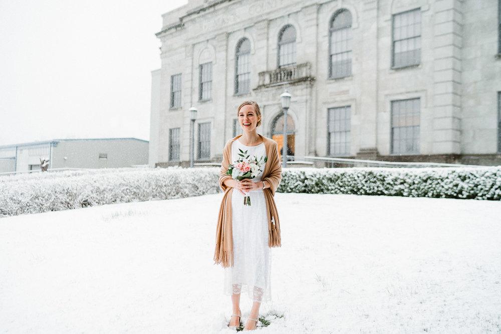 Bride Snow Courthouse Portrait Washington State