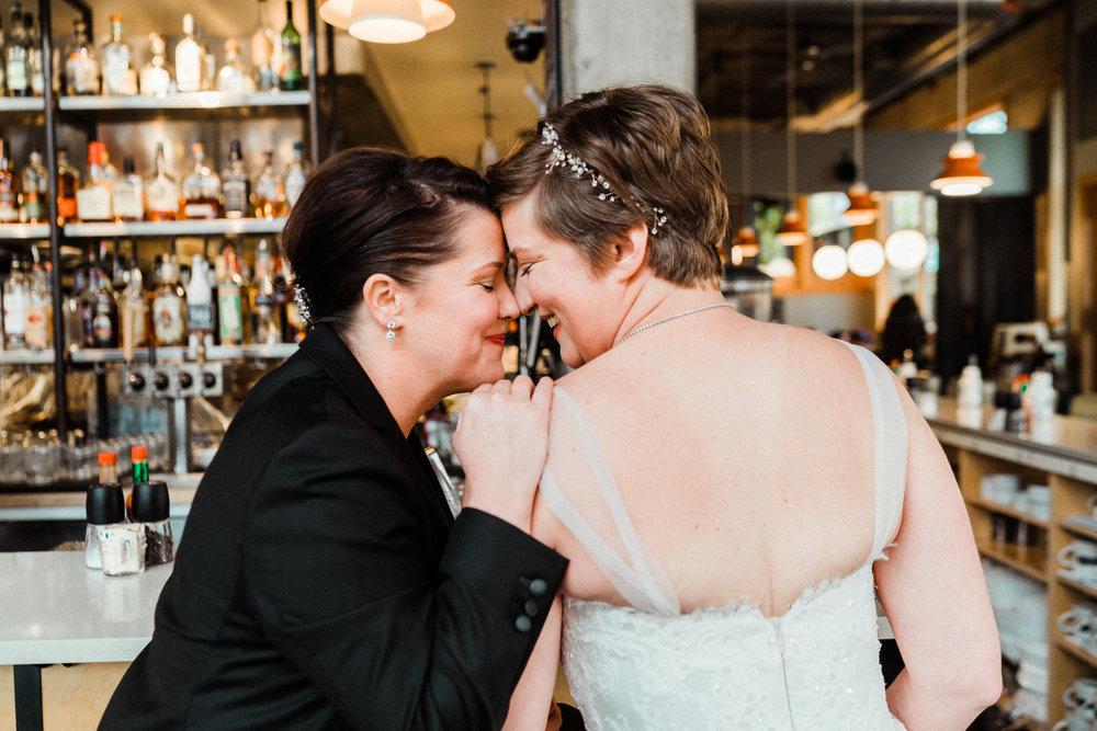 Brides Portraits Lesbian Wedding Skillet Diner
