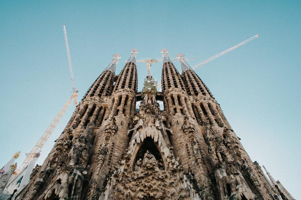 Barcelona Sagradad Familia Church Gaudi Columns pillars towers