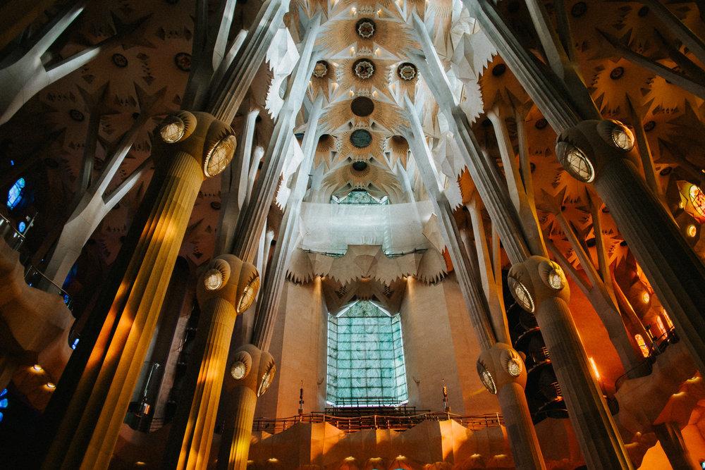 Sagrada Familia ceiling stained glass light back columns pillar