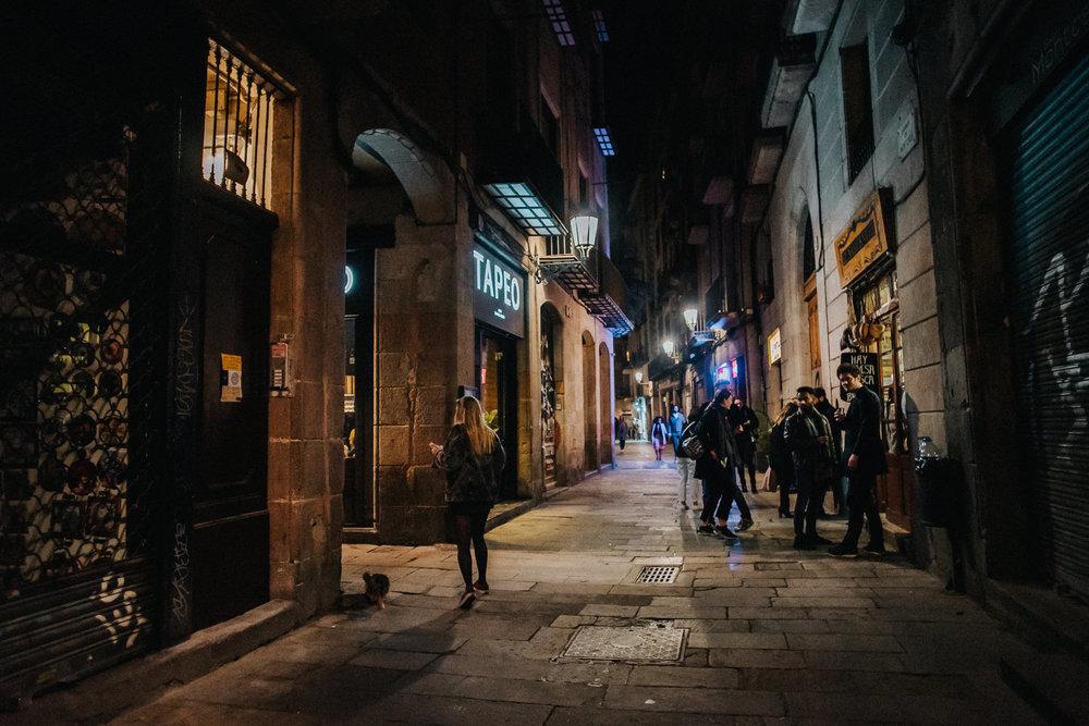 Montcada street Barcelona Alley Way Tapeo restuarant