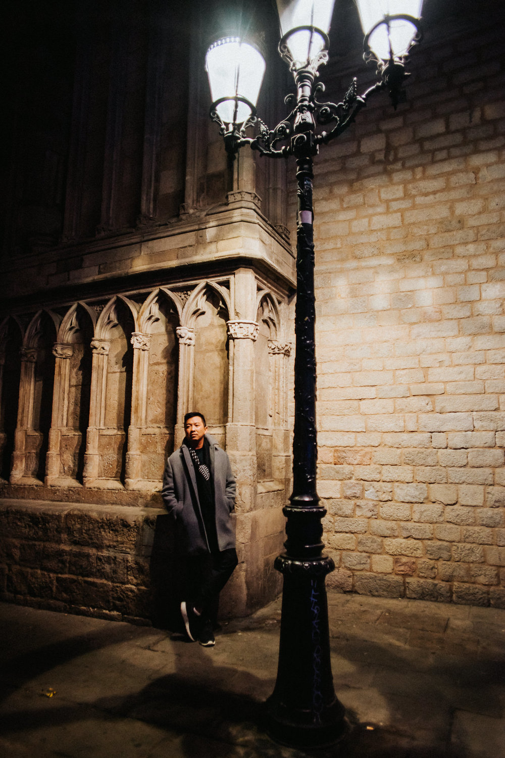 Alfred Tang Barcelona Cathedral Street Light Portrait