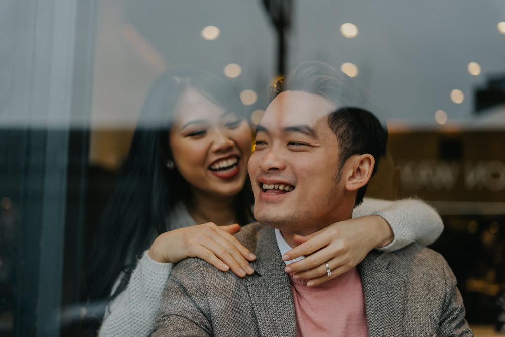 engagement hug coffee shop photography