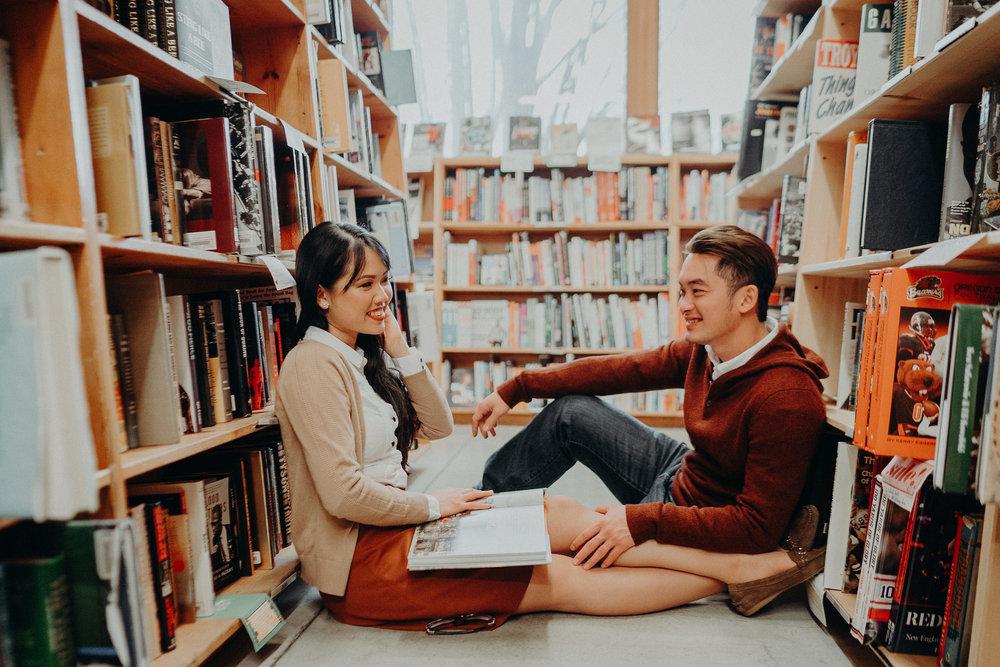Powells Book Store Portland engagement