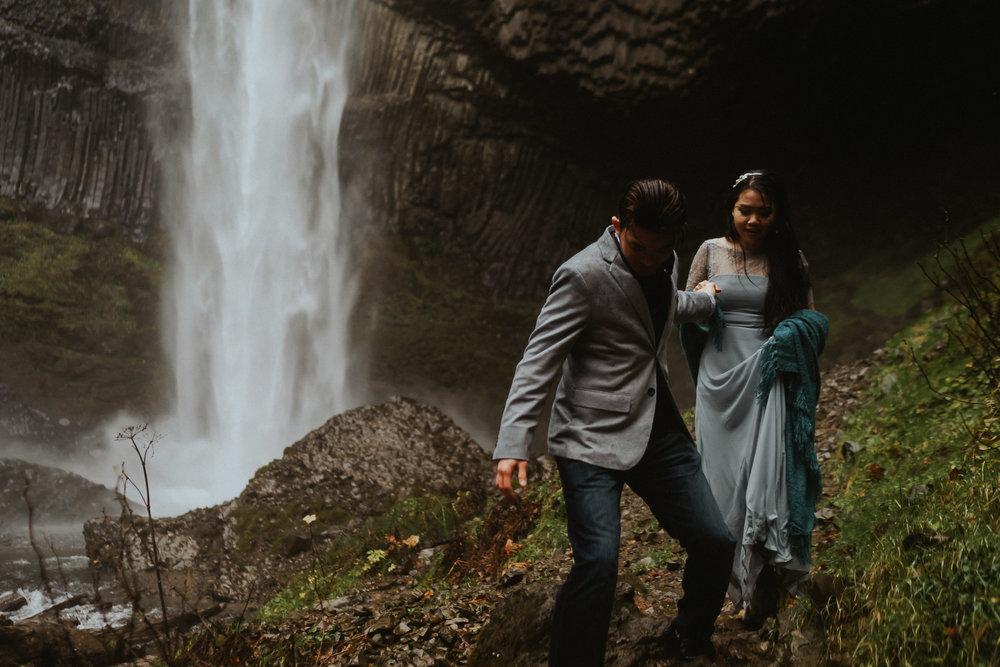 Latourell Falls Engagement Idea Photography