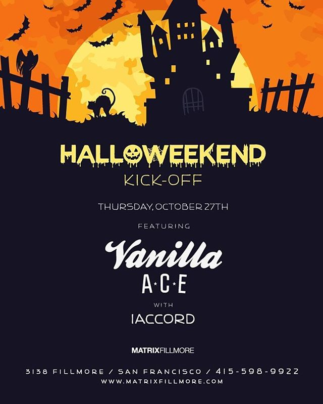 Join us tonight as we hit the decks at MatrixFillmore for some Halloweekend fun! We'll be opening up for @vanillaace1! Be sure to jump on guest list: https://www.eventbrite.com/e/halloweekend-kick-off-w-vanilla-ace-tickets-28771026916?aff=social