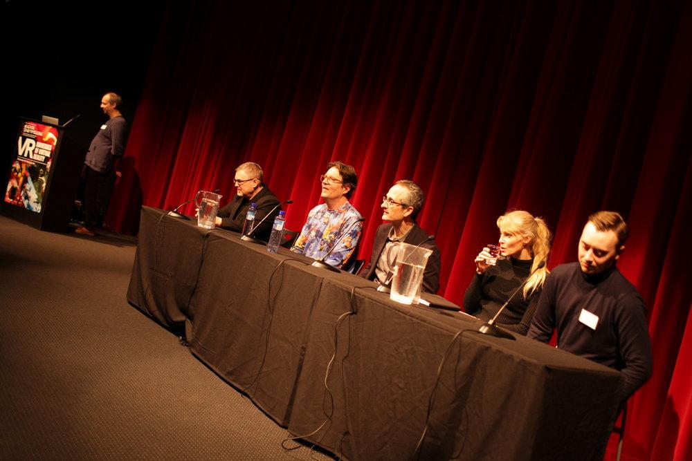 From left: Kim Baumann Larsen (Moderator, Digital Storytelling), Elijah Freman (Crytek), Kevin Mack (Shape Space VR), Jan Pinkava (Google Spotlight Stories), Grethe Bøe-Waal (Placebo Effects) and Peter McLaughlin (WeMakeVR). Photo: Renberg, Marius. Digital Storytelling. 2016.