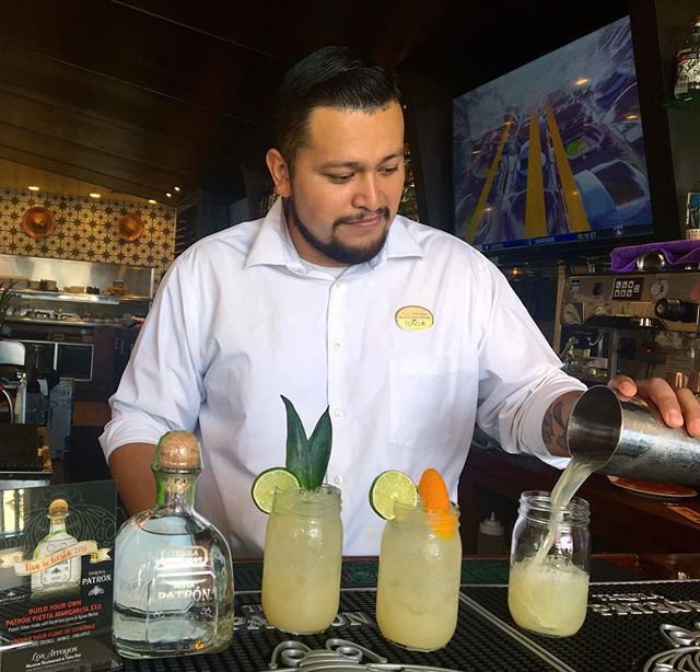Our amazing bartender Toño at #losarroyosgoleta is getting ready for our #fiestacelebrations this week! . . . #losarroyos #sbfiestas #oldspanishdays #sbevents #losarroyosrestaurants #traditions #goleta #margaritamondays #patron