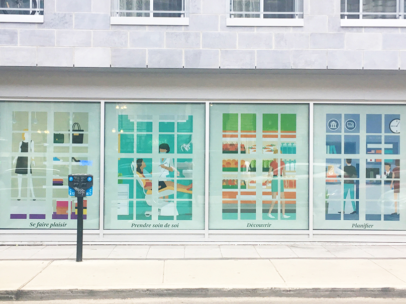 Illustrations made for one of Montreal's office space windows