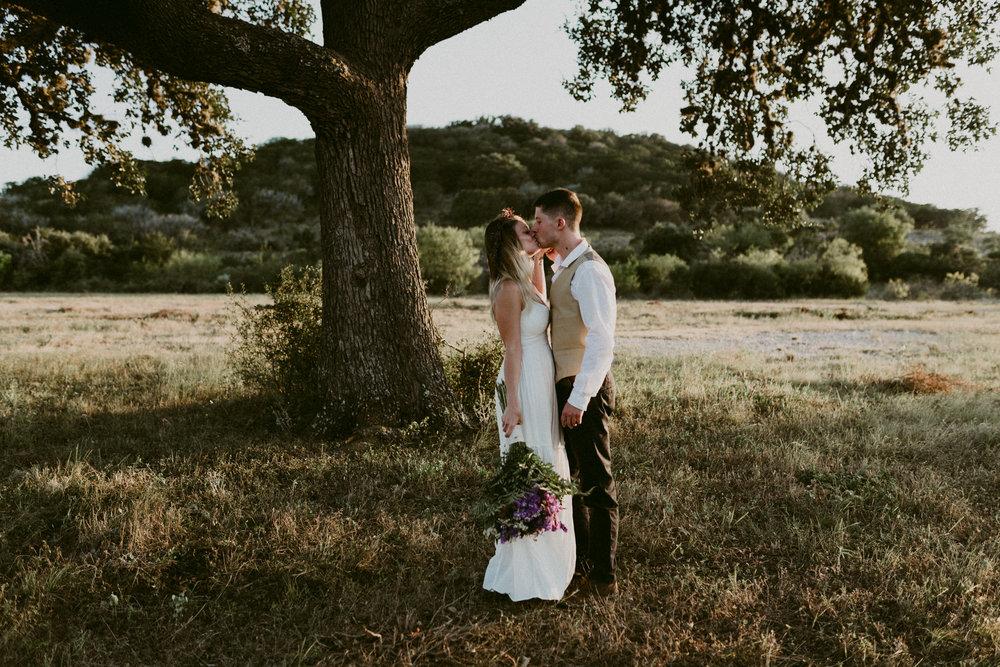 Intimate Outdoor Texas Wedding Sunset Storytelling Bride and Groom Portraits at Garner State Park San Antonio Wedding Photographer Kerlyn Van Gelder Photography Corpus Christi Wedding Photographer