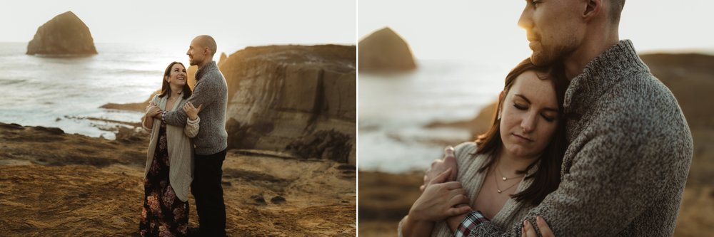 intimate cape kiwanda beach engagement session portland oregon wedding photographer