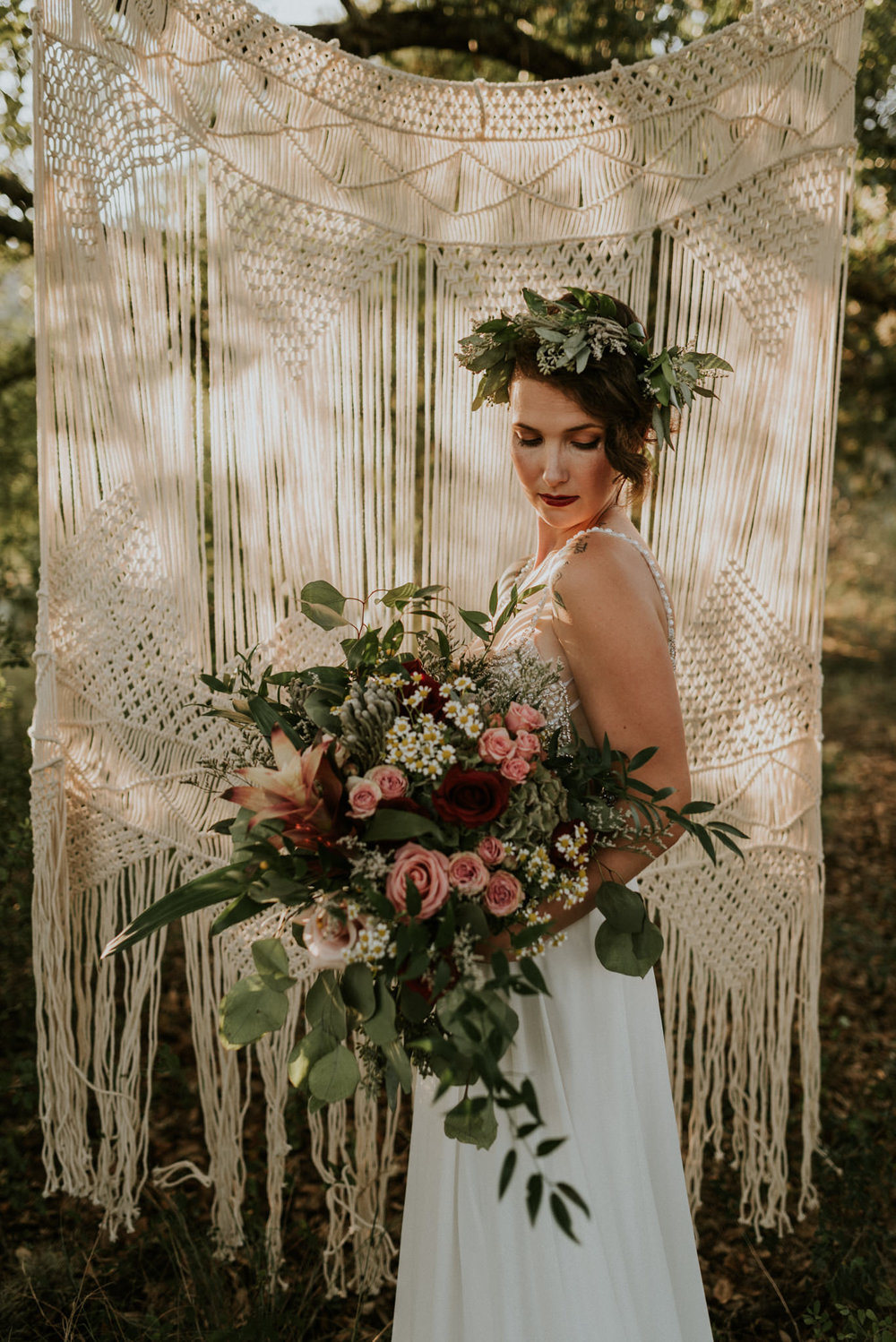 Bohemian-Floral-Greenery-Macrame-Southwestern-Desert-Elopement-Enchanted-Rock-Natural-Park-Kerlyn-Van-Gelder-Photography-Austin-Wedding-Photographer