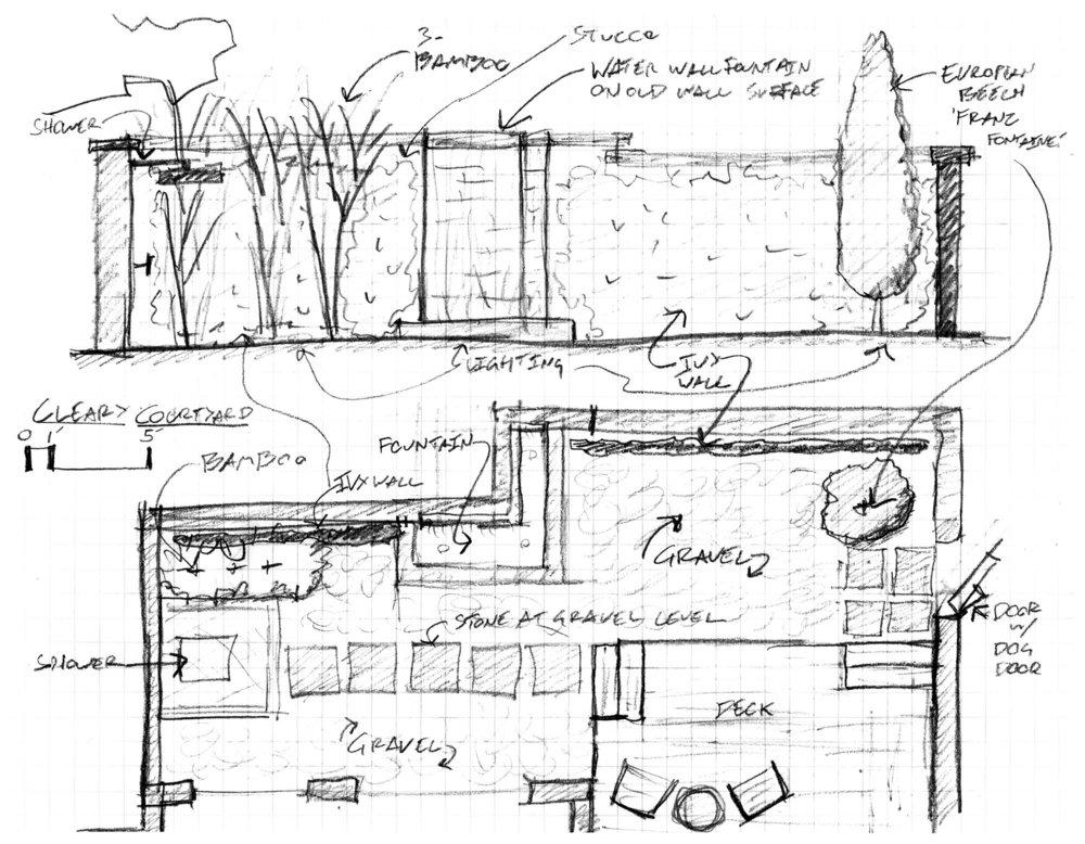 courtyard garden design landscape architecture image Columbus design sketch