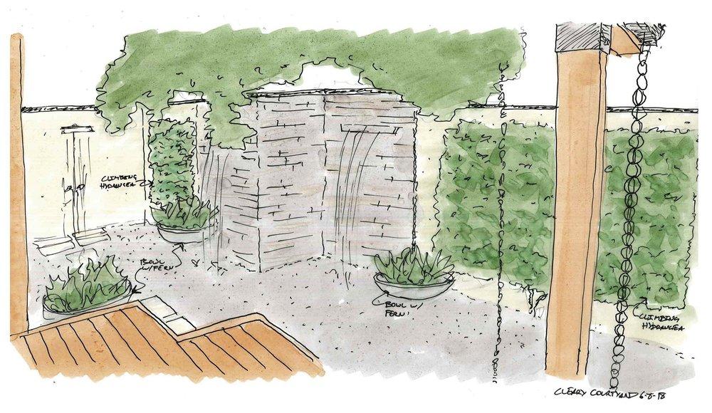 courtyard garden design landscape architecture image Columbus design sketch rendering