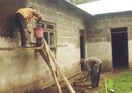 2011 - completing the plastering of the school walls