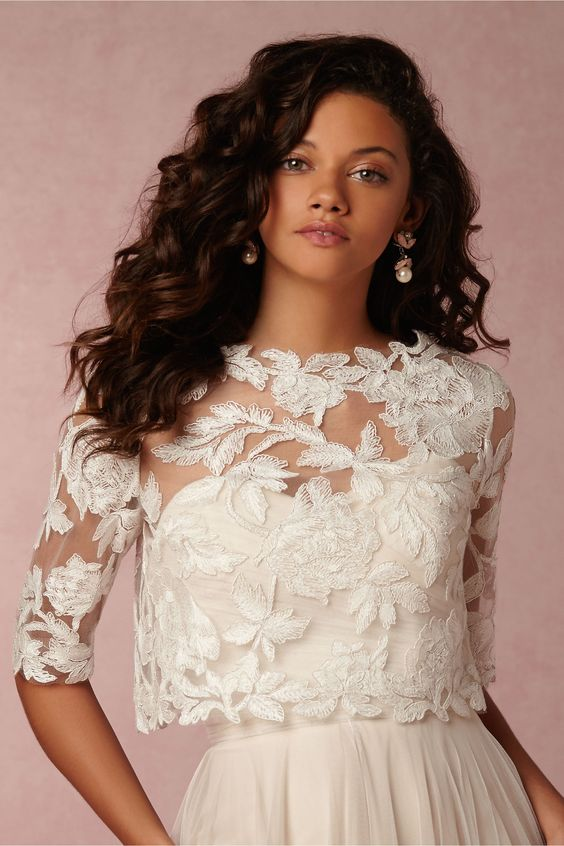 Embroidered Lace Long Sleeve Dress Topper David S Bridal