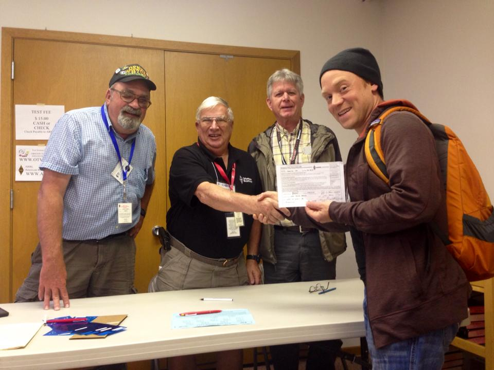 OMs at Sea-Pac handing me my CSCE for my General class license.