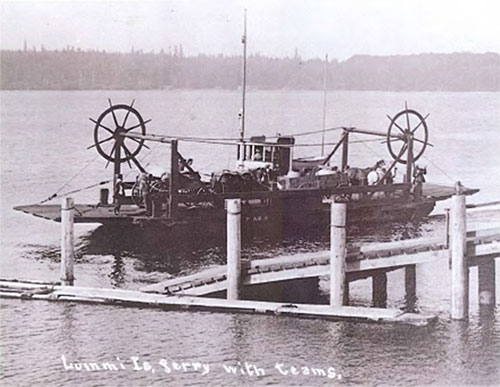 Lummi Island ferry with horse teams