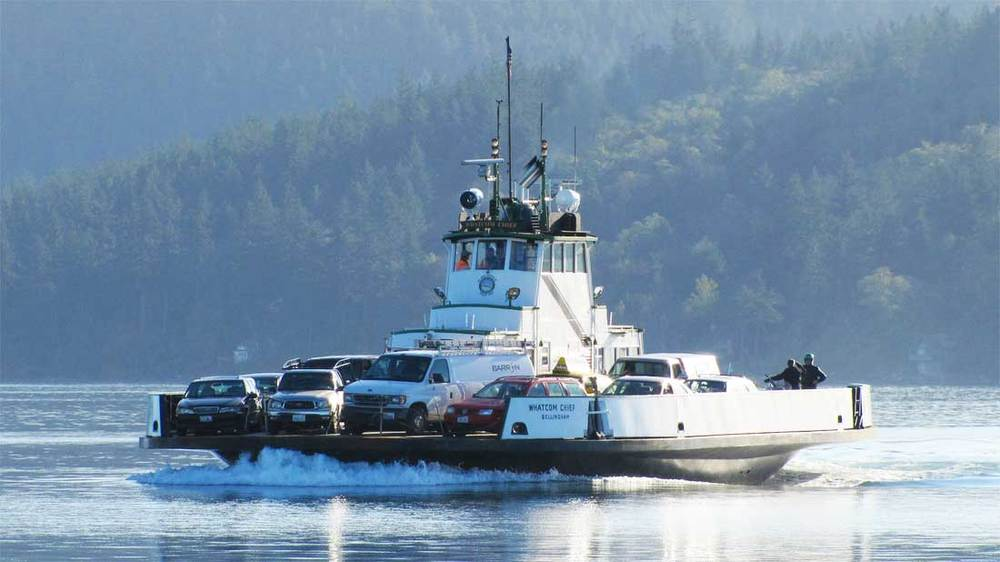 The Whatcom Chief crossing Hale Passage to the mainland