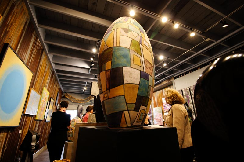 Sculpture by Norbie Schmidlin during the exhibition opening