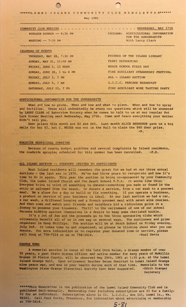 News Letter  May 1981, page 1