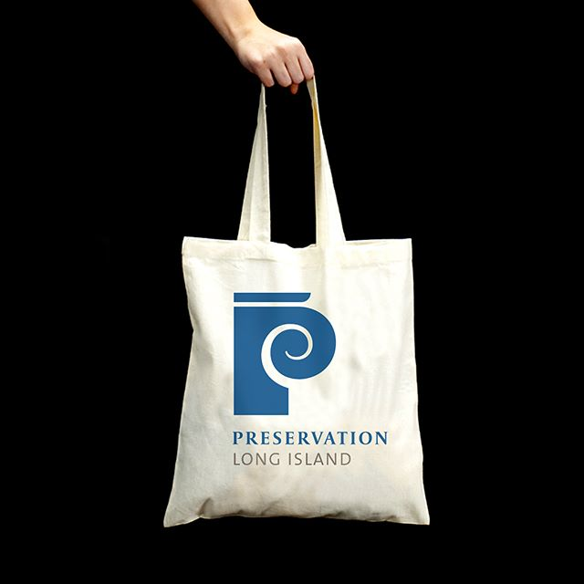 Tote bag concepts for Preservation Long Island's new visual identity. #design #graphicdesign #visualidentity #totebag #brand #logotype #preservationlongisland #symbol