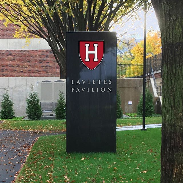 New signs and wayfinding designed by Malcolm Grear Designers for Harvard University's basketball pavilion renovation. #environmentalgraphicdesign #design #graphicdesign #wayfinding #wayfindingdesign #brand #harvard #harvarduniversity #lavietespavilion #harvardathletics #ivyleague #academics #mgreardesigners #mgrear #malcolmgreardesigners