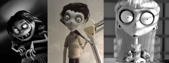 Victor looking 'normal' next to his creepy looking class mates.  Source: Frankenweenie