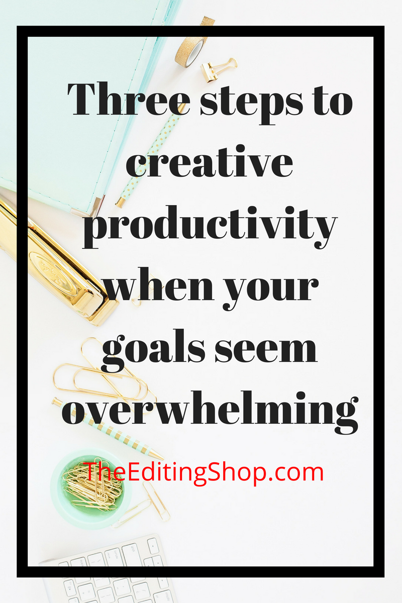 Are your goals for this year overwhelming you already? Do you want to write a book, start a blog, or begin a big new venture? The Editing Shop gives you three simple steps to creative productivity to help you smash your goals instead of letting them smash you.