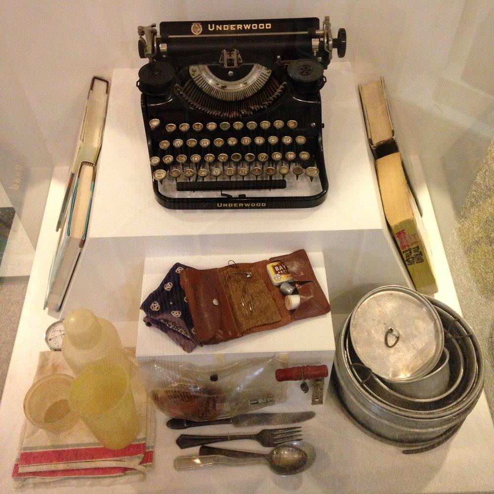 Jack Kerouac's backpack contents: mess kit, typewriter, toiletries, & books
