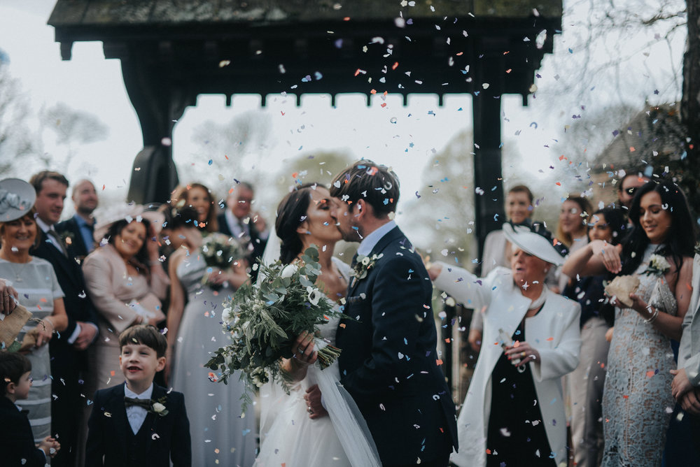 confetti shot at west tower wedding