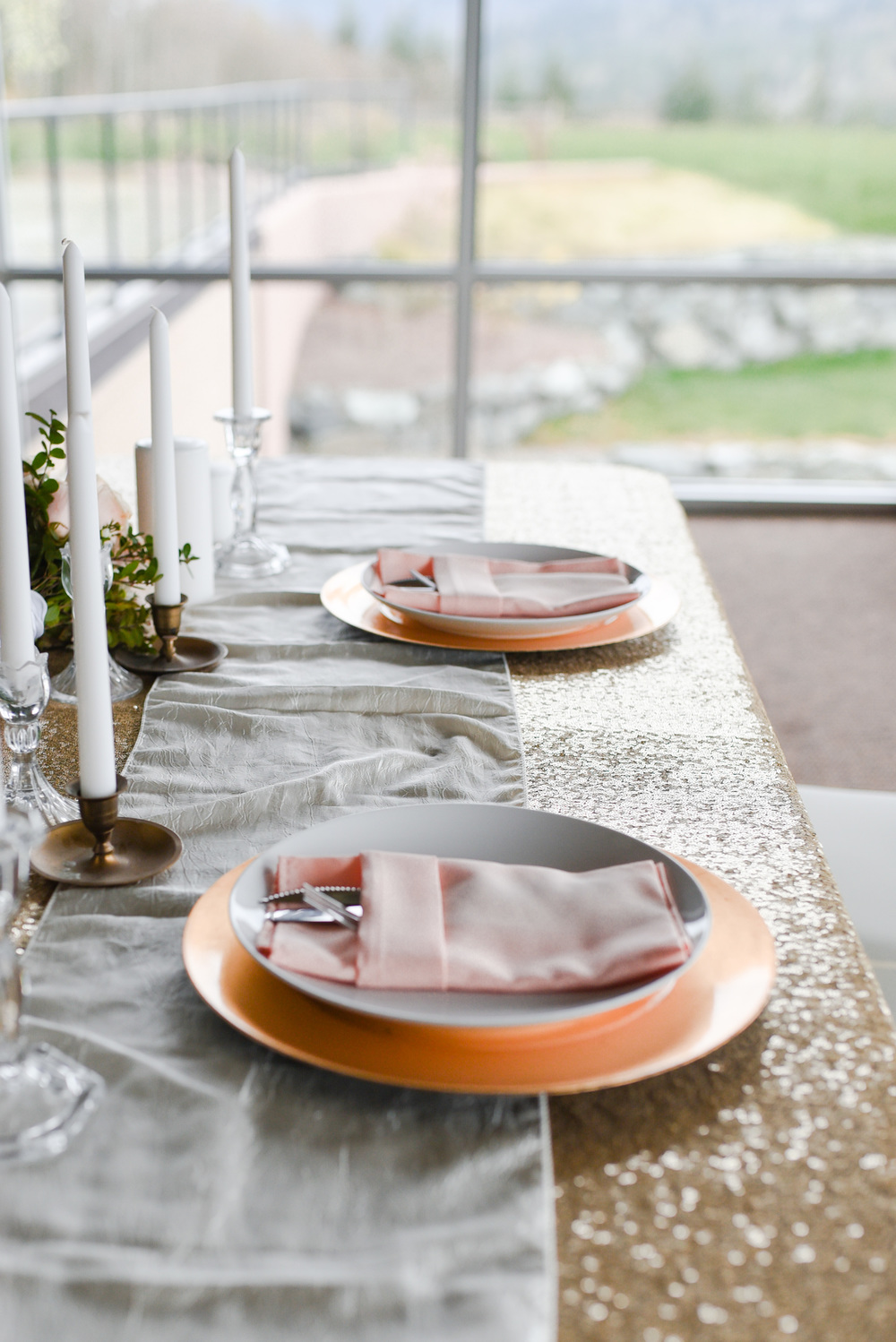 Table cloth Champagne Sequins: Ivory table runner: Blush napkins: Gold Chargers From Skagit Valley Wedding Rentals