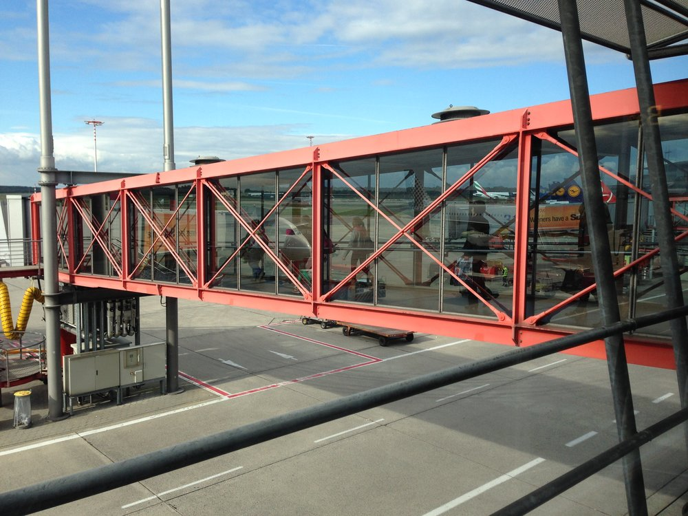 The iconic red piers at Hamburg Airport