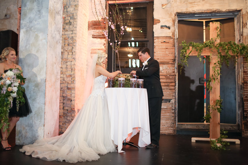 Photographer: Vick Photography ( here  is their blog post)| Makeup:  Makeup by Mindie  | Hair:  Hair by Theresa  | Dress:  The Wedding Shoppe | Venue:  Aria  | Planning:  Elisa , Simply Elegant | Cinema:  Better Together  | Florist:  Whimsy Designs  | Dessert:  Cafe Donuts  | DJ:  Instant Request