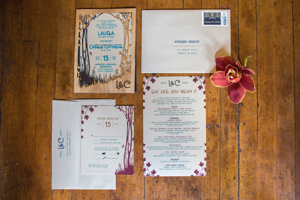 Colorful, woodland theme wedding invitations, RSVP and menu cards .