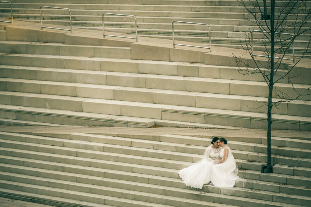 Bridal portrait on stairs