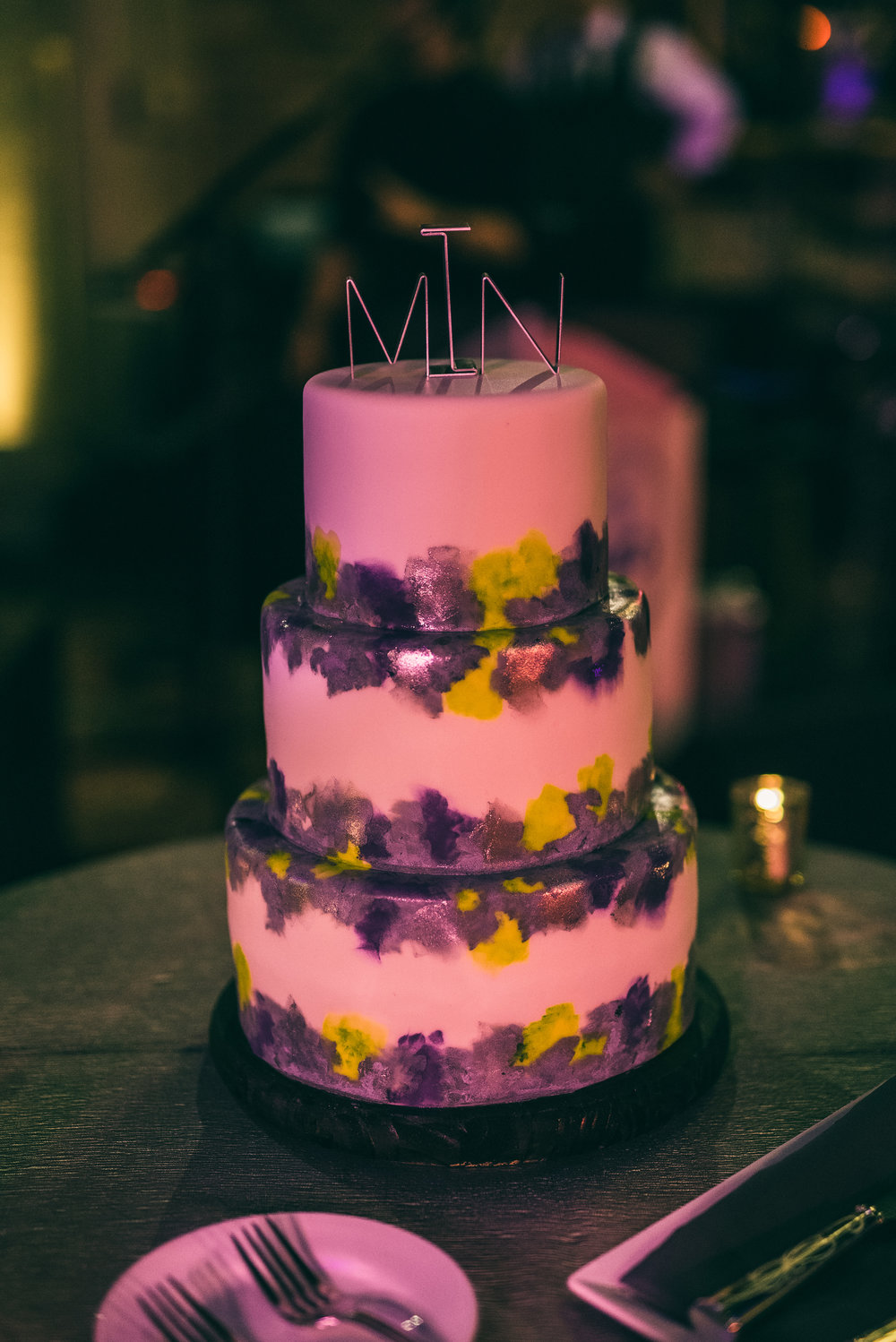 Hand painted three tier fondant wedding cake, River Roast Social House in Chicago