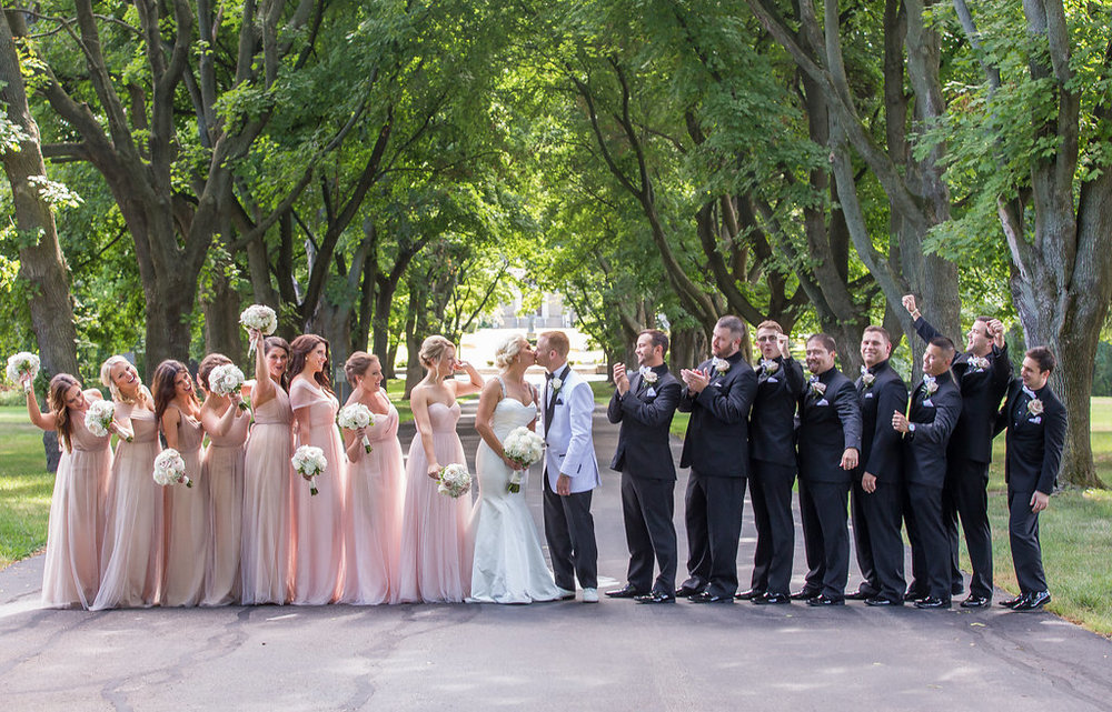 Milwaukee, Wisconsin wedding, bridal party with bride and groom. Blush and gold with white accents.