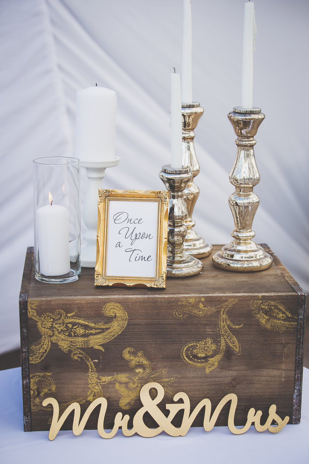 Wedding reception decor, candles, Mr & Mrs sign.