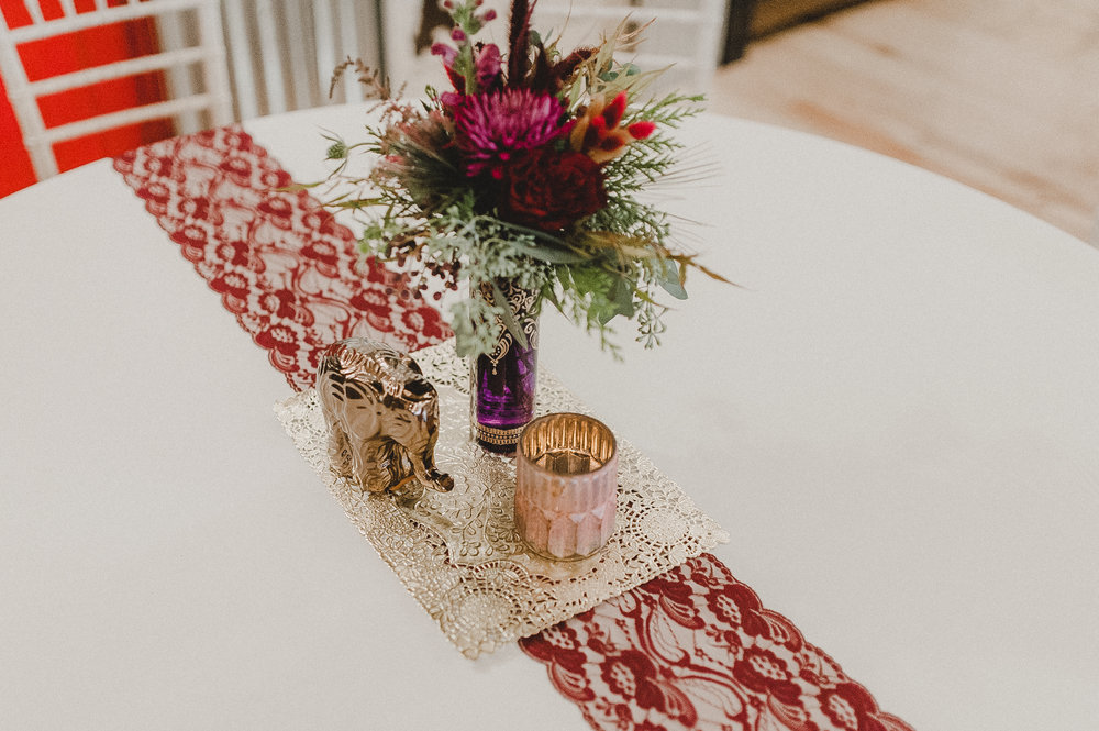 Boho Centerpiece in Gold, Burgundy