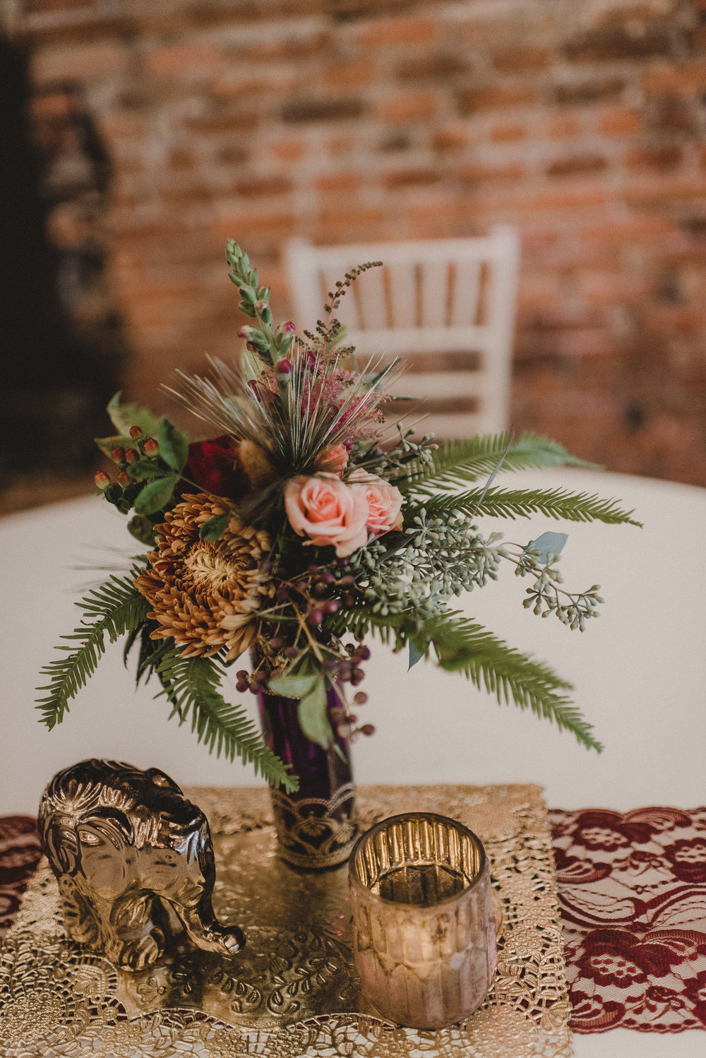Gold, Burgundy and Pink Centerpiece