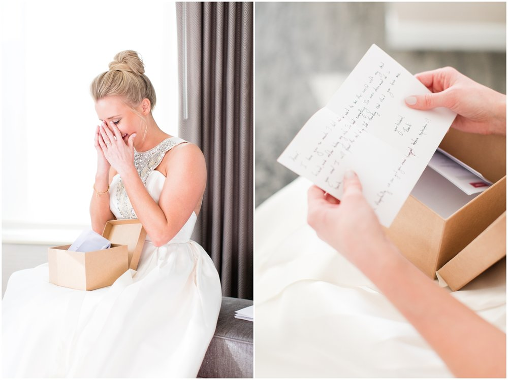 bride reading a letter and crying