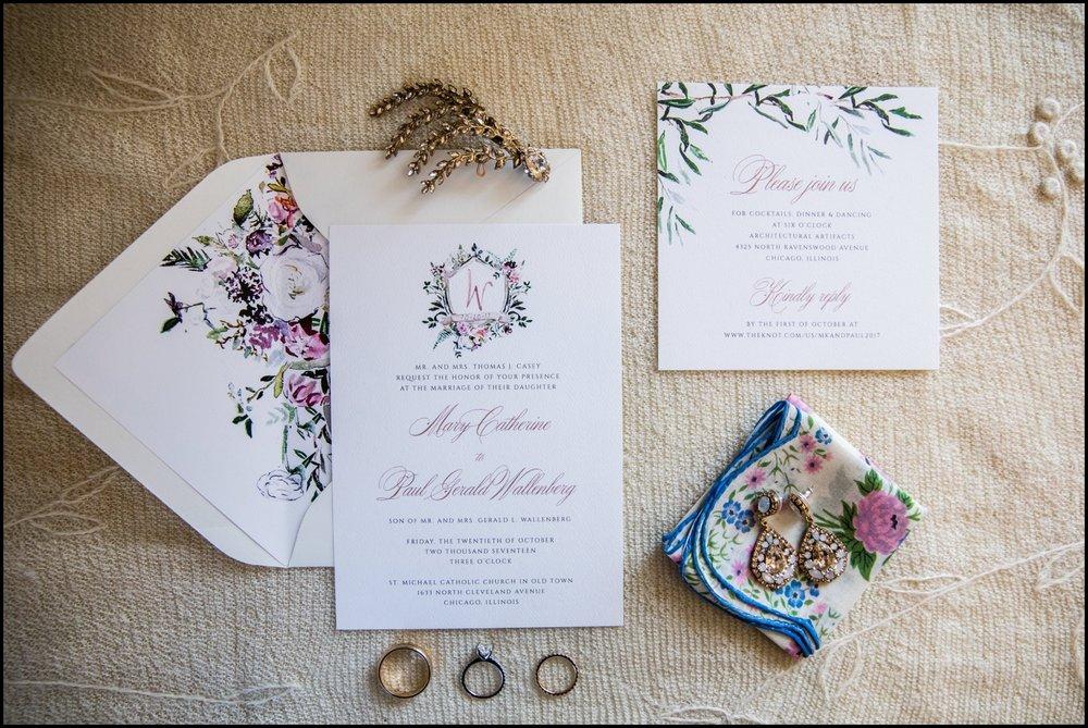 white with flower wedding invitation