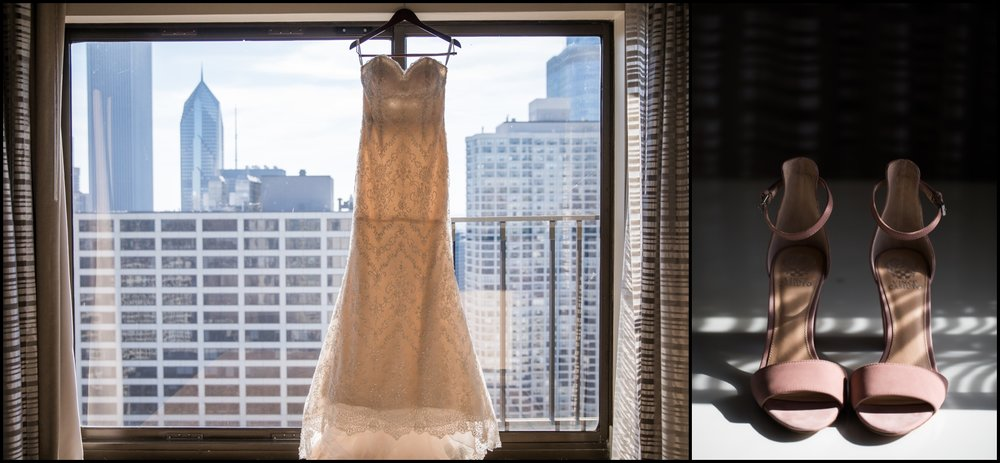 bride's wedding dress and wedding shoes