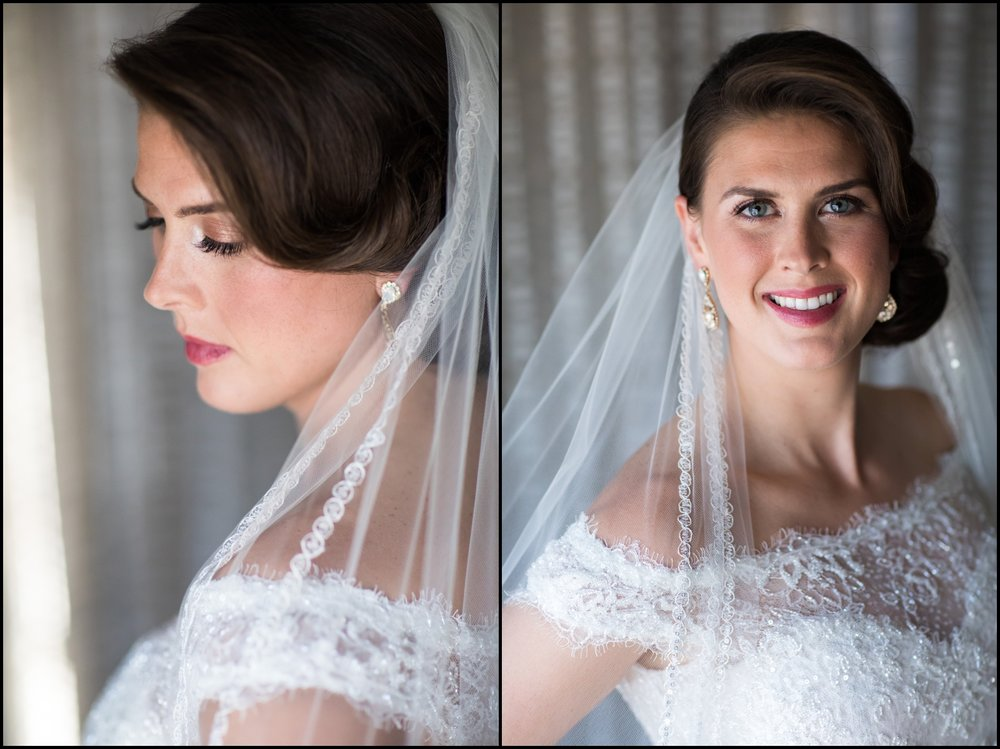 bride wearing her wedding dress and veil